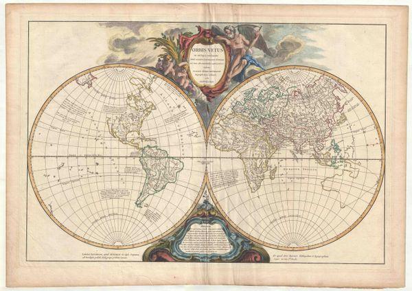 Orbis Vetus in ultraque continente justa mentem Sansonianam distinctas, nec non observationibus astronomicis reductus, accurante Robert de Vaugondy, Geography Regis ordinario, 1752.