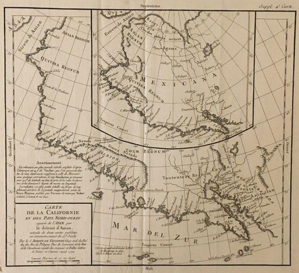 Carte de la Californie et des Pays Nord-Ouest separes de l'Asie par le détroit d'antan...