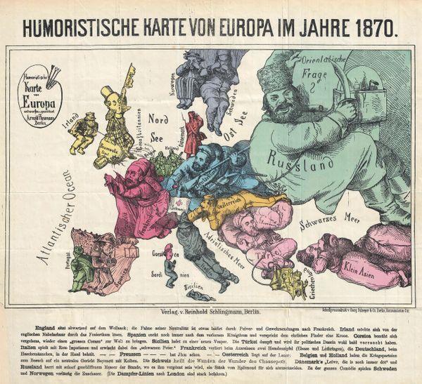 Humoristische Karte Von Europa 1914.Humoristische Karte Von Europa Im Jahre 1870
