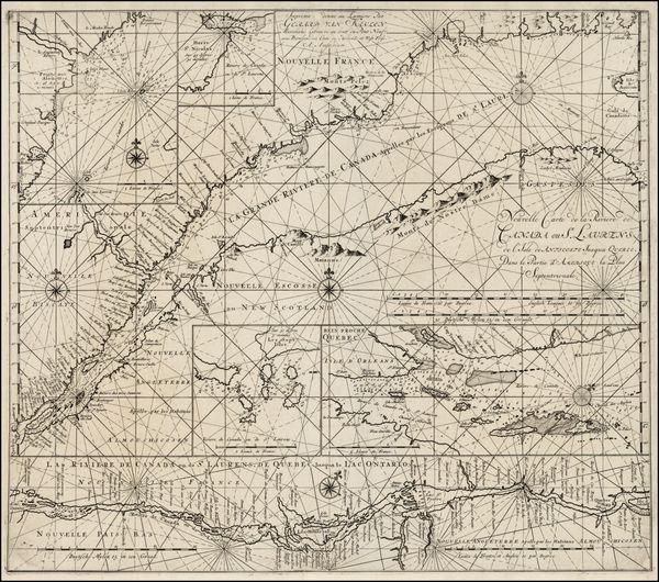 Nouvelle Carte de la Riviere de Canada ou St. Laurens de l'Ile de Anticoste jusqua Quebec. Dans la Partie d'Amerique la Plus Septentrionale