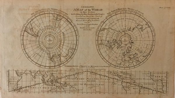 A Map of the World in Three Sections Describing the Polar Regions to the Tropics...