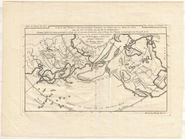 Carte des Terres Nouvellement Connues au Nord de la Mer du Sud tant du Coté de l'Asie que du Coté de l'Amérique...