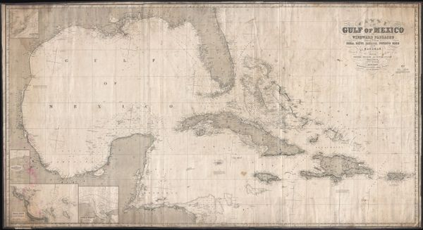 Chart of the Gulf of Mexico and Windward Passages including the Island of Cuba, Haiti, Jamaica, Puerto Rico and the Bahamas.