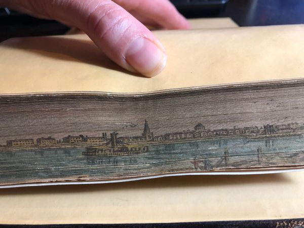 Fore edge book with a view possibly of Winnipeg