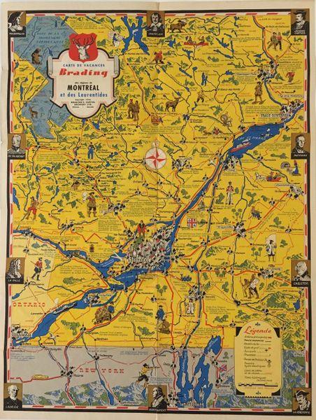 Carte de Vacances Brading des regions de Montreal et des Laurentides