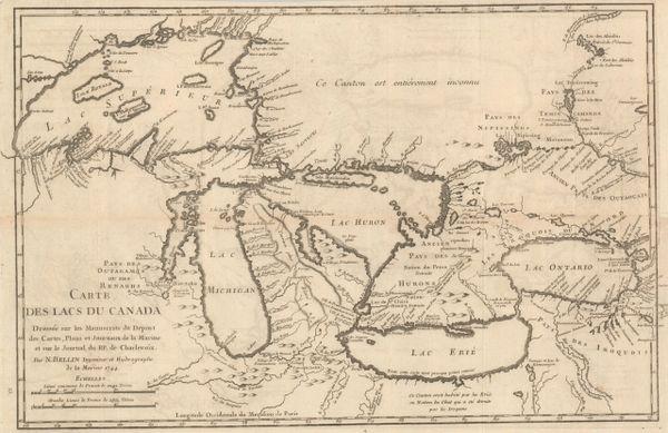 Bellin, Carte des Lacs du Canada