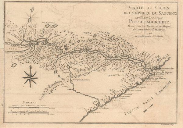 Bellin, Carte du Cours de la Riviere du Saguenay applellee par les Sauvages Pitchitaouichetz...