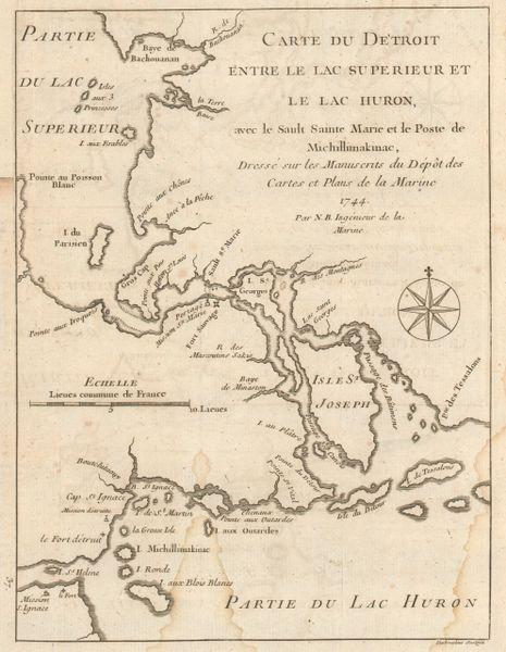 Bellin, Carte du Detroit entre le Lac Supérieur et le Lac Huron...