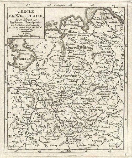 De Vaugondy Map, Cercle de Westphalie, divise suivant ses differentes Principautes...