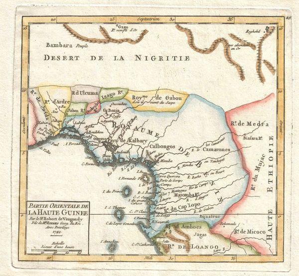 De Vaugondy Map, Partie Orientale de la Haute Guinee...