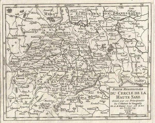 De Vaugondy Map, Partie Meridionale de Cercle de la Haute Saxe divisee par ses Principautes....