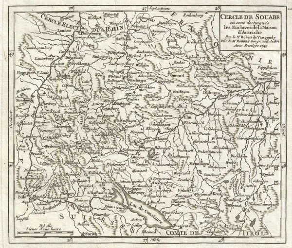 De Vaugondy Map, Cercle de Souabe ou sont distingues les Eclaves de la Maison d'Autriche...