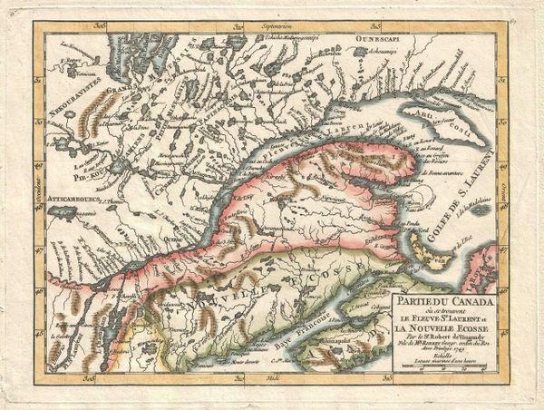 De Vaugondy Map, Partie du Canada ou se trouvent le Fleuve St Laurent et la Nouvelle Ecosse......