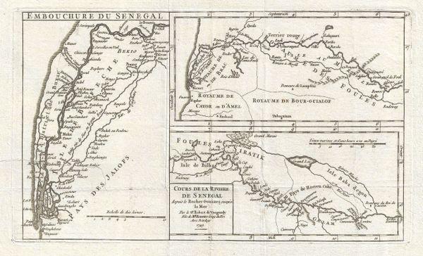 De Vaugondy Map, Cours de la Riviere de Senegal depuis le Rocher Gouinea jusqu'a la Mer...