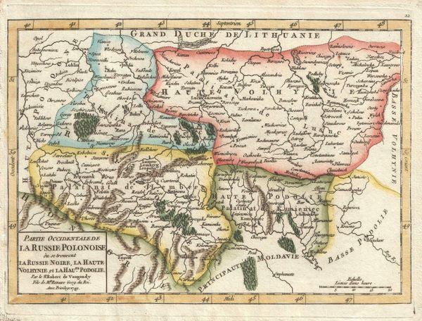 De Vaugondy Map, Partie Occidentale de la Russie Polonaise ou se trouvent la Russie Noire...