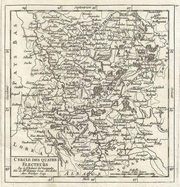 De Vaugondy Map, Cercle des Quatres Electeurs...