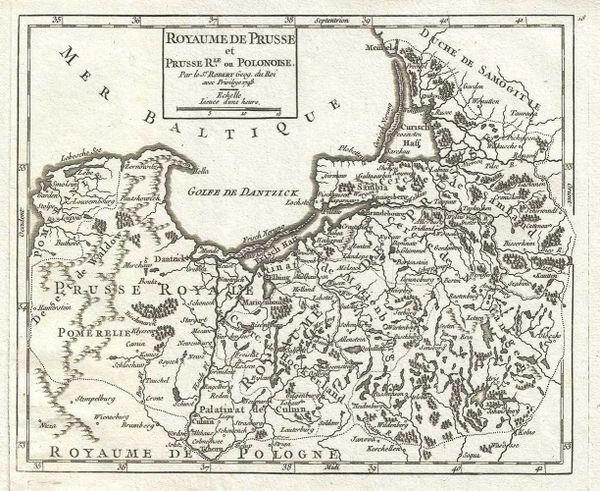 De Vaugondy Map, Royaume de Prusse et Prusse R.le ou Polonoise...