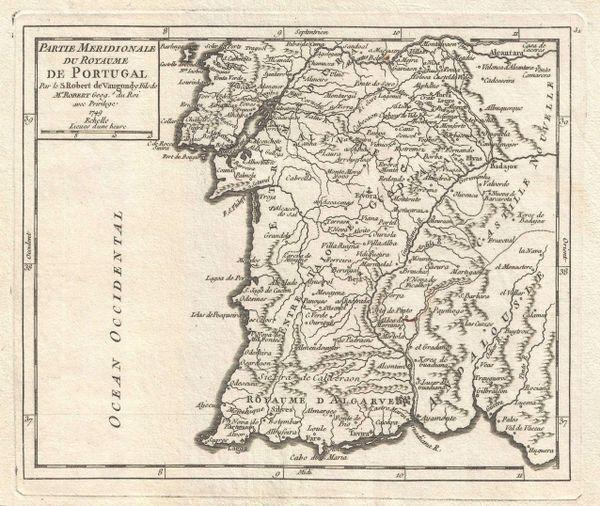 De Vaugondy Map, Partie Meridionale du Royaume de Portugal...