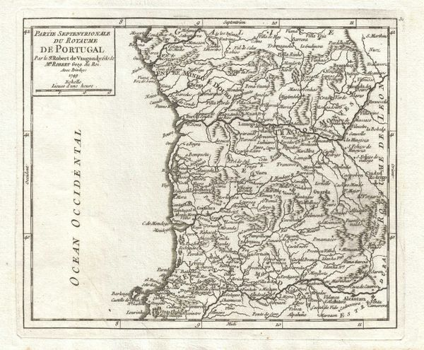 De Vaugondy Map, Partie Septentrionale du Royaume de Portugal...