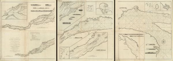 A New Chart of the river St. Laurence, from the Island of Anticosti to the Falls of Richelieu : With all the islands, rocks, shoals, and soundings, also particular directions for navigating the river with safety...