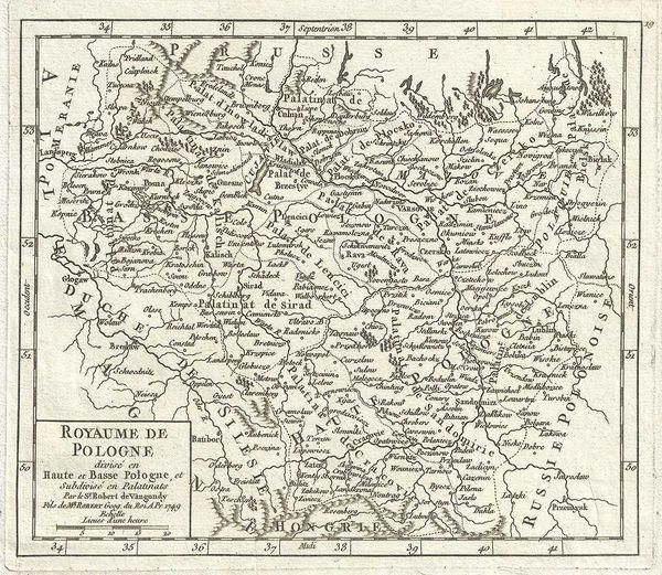 De Vaugondy Map, Royaume de Pologne divise en Haute et Base Pologne, et subdivise en Palatinais...