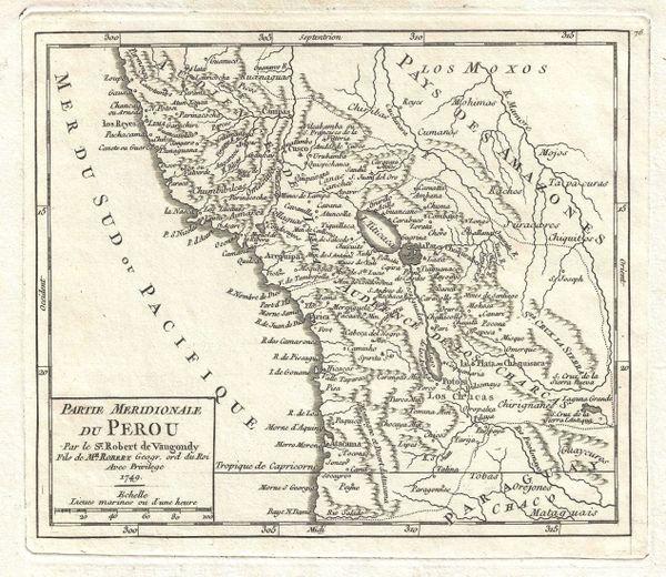 De Vaugondy Map, Partie Meridionale du Perou...