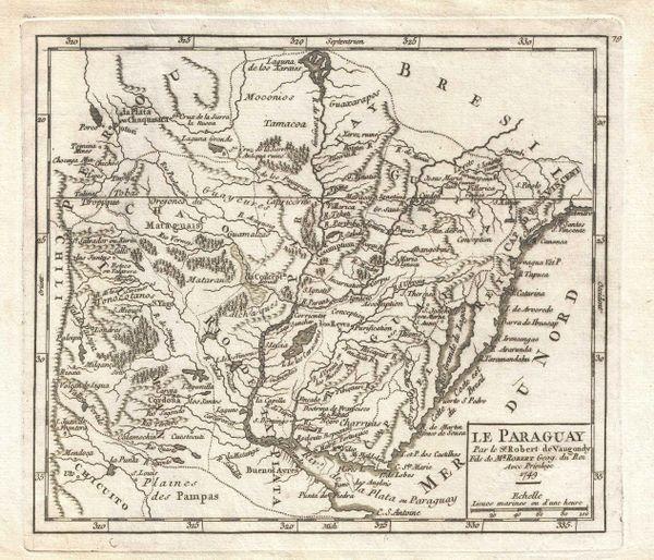 De Vaugondy Map, Le Paraguay...