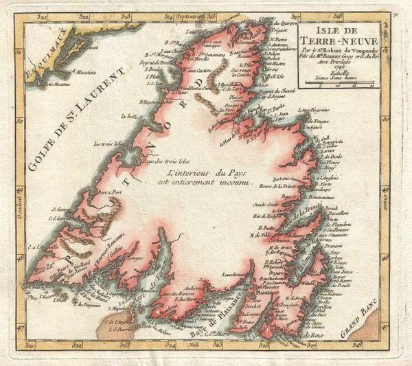 De Vaugondy Map, Isle de Terre Neuve...