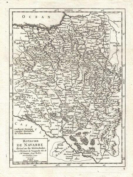 De Vaugondy Map, Royaume de Navarre divisee en six Merindales...