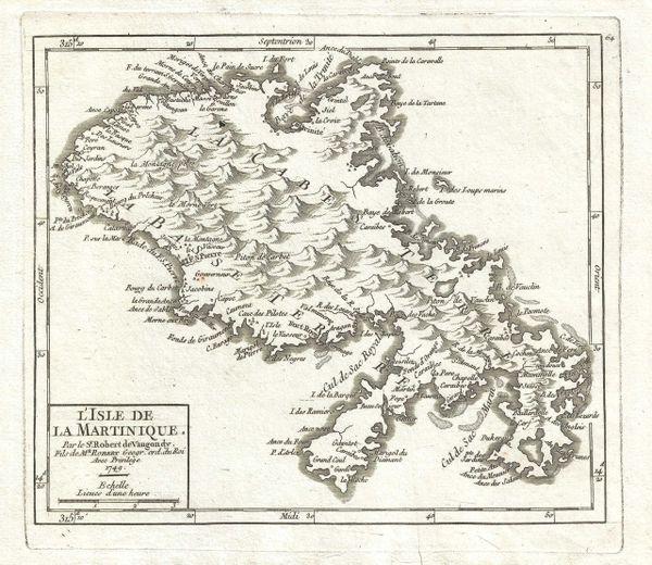 De Vaugondy Map, L'Isle de la Martinique...