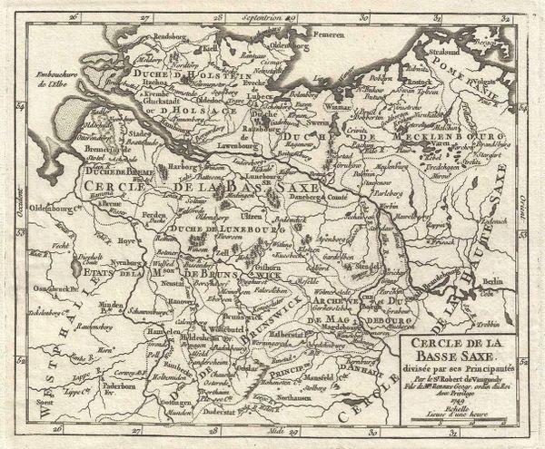 De Vaugondy Map, Cercle de la Basse Saxe divisée par ses Principautés...