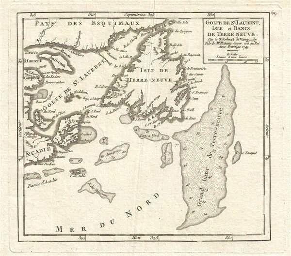 De Vaugondy Map, Golfe de St-Laurent, Isles et Bancs de Terre Neuve...