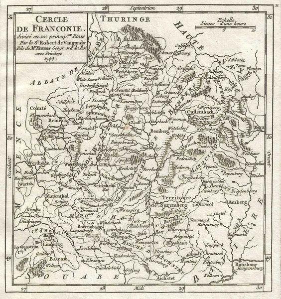 De Vaugondy Map, Cercle de Franconie divisée en ses principaux Etats...