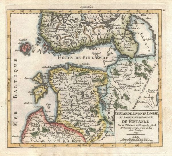 De Vaugondy Map, Curlande, Livonie, Ingrie et Partie Meridionale de Finlande...