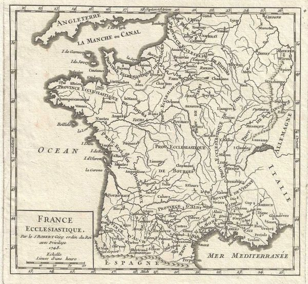 De Vaugondy Map, France Ecclasiastique...