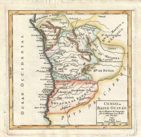 De Vaugondy Map, Congo ou Basse Guinée...