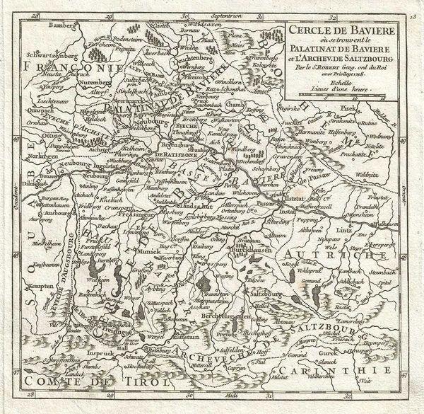 De Vaugondy Map, Cercle de Bavière où se trouvent le Palatinate de Bavière et L'Archev de Saltzbourg...