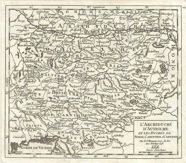 De Vaugondy Map, L'Archiduché d'Autriche et les Duchés de Stirie, Carinthie et Carniole...