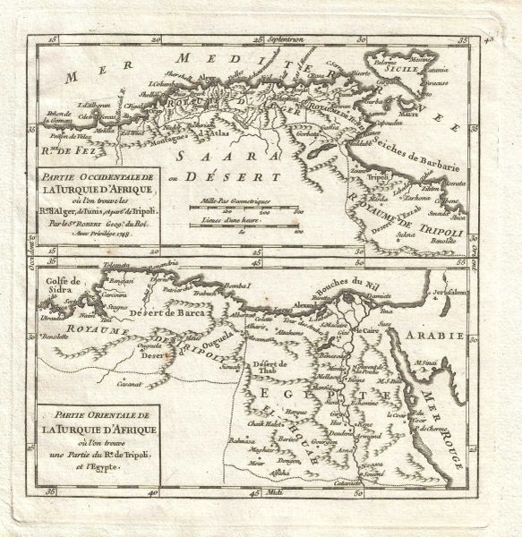 Robert de Vaugondy map, Partie Occidentale de la Turquie d'Afrique...