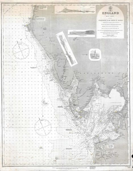 British Admiralty Office Chart, England West Coast. Fleetwood to the Firth of Solway.