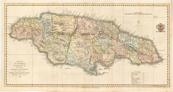 Bryan Edwards map, Map of the Island of Jamaica Divided into Counties and Parishes for the History of the West Indies...
