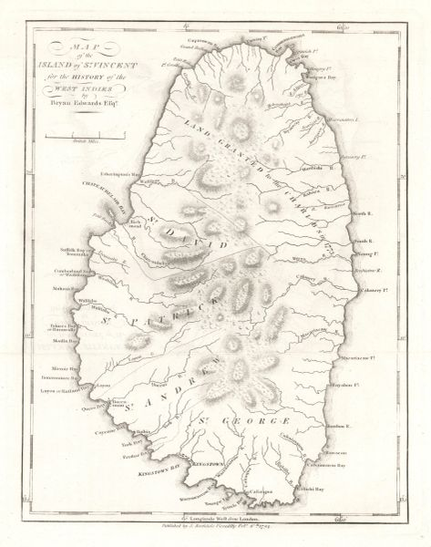 Bryan Edwards map, Map of the Island of St. Vincent for the History of the West Indies...
