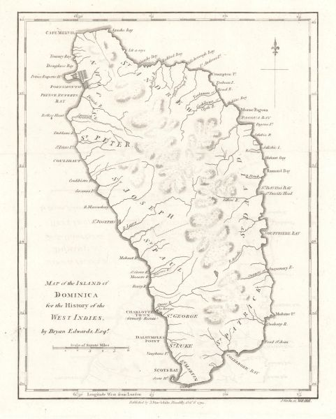 Bryan Edwards map, Map of the Island of Dominica for the History of the West Indies...