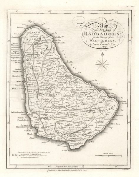 Bryan Edwards map, Map of the Island of Barbadoes for the History of the West Indies...