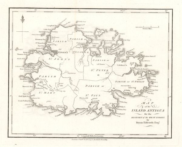 Bryan Edwards Map, Map of the Island of Antigua for the History of the West Indies...