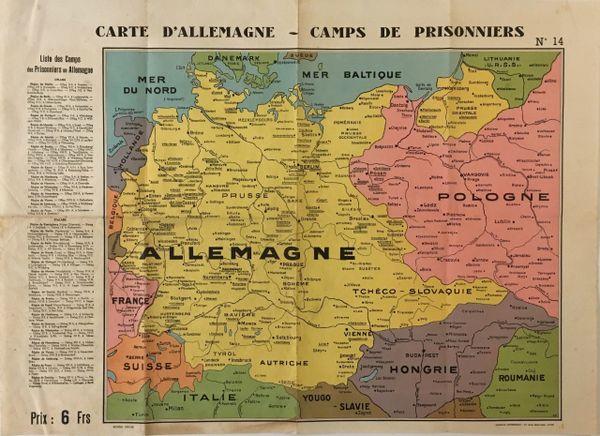Carte d'Allemagne, Camps de Prisonniers.