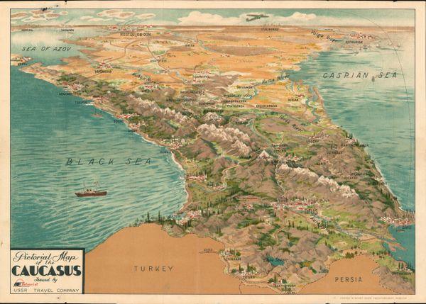 Pictorial Map of the Caucasus USSR.