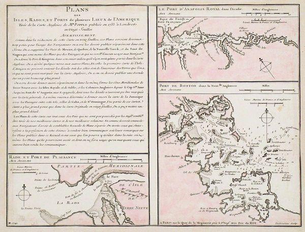 Buache, Plans des Isles, Rades, et Ports de plusieurs Lieux de l'Amérique...