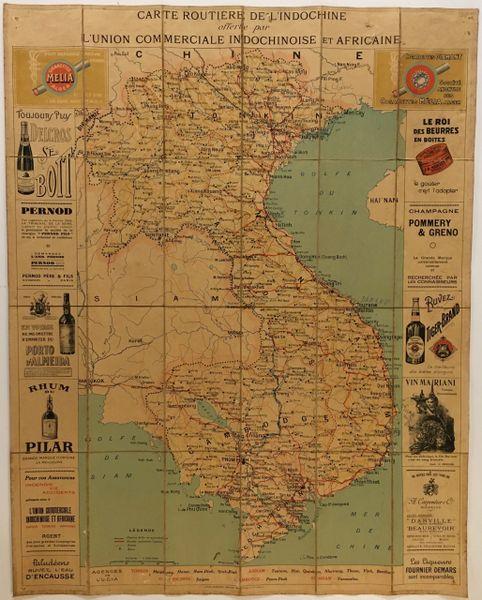 Carte Routière de L'Indochine Offerte par L'Union Commerciale Indochinoise et Africaine.
