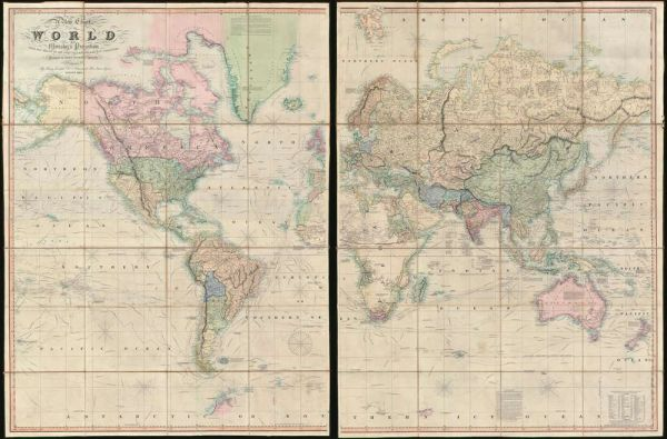 A New Chart of the World on Mercator's Projection with the Tracks of the Most Celebrated & Recent Navigators